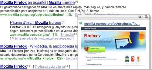 Script Google SnapShots Preview para Greasemonkey en Mozilla Firefox.